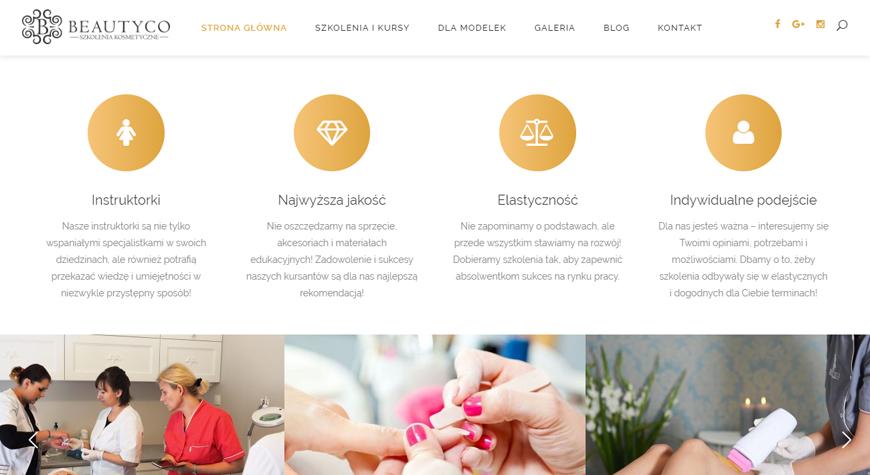 Beautyco - szkolenia kosmetyczne strona internetowa #2