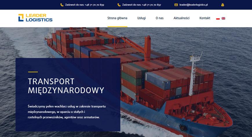 Leader Logistics strona internetowa #1