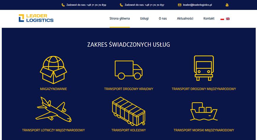Leader Logistics strona internetowa #2