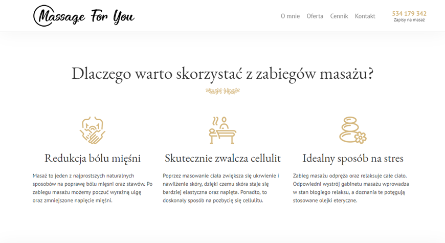 Massage For You strona internetowa #2