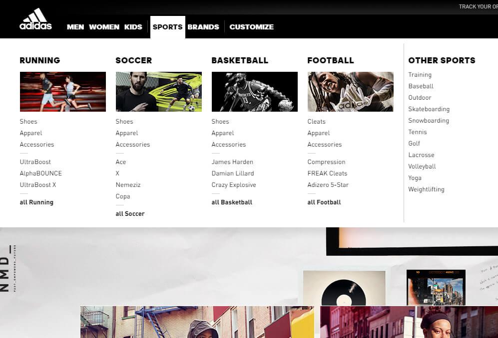Jak zaprojektować menu strony internetowej? - Adidas