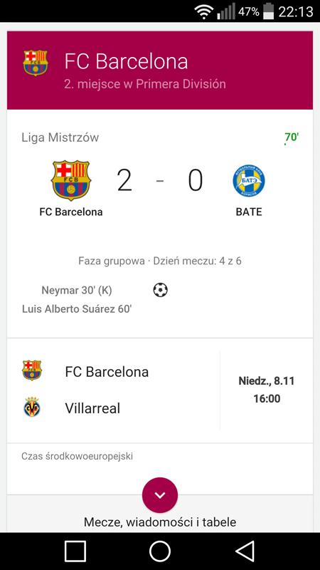 Google Barcelona BATE mecz