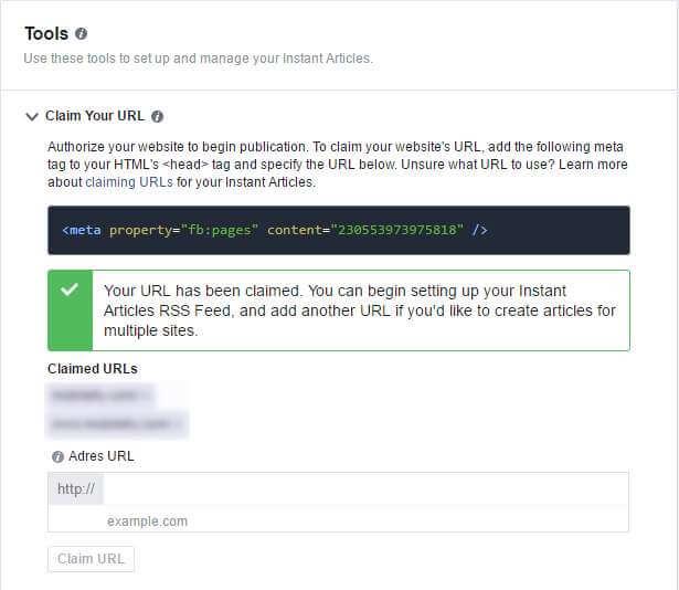 Dodawanie adresów URL w Facebook Instant Articles