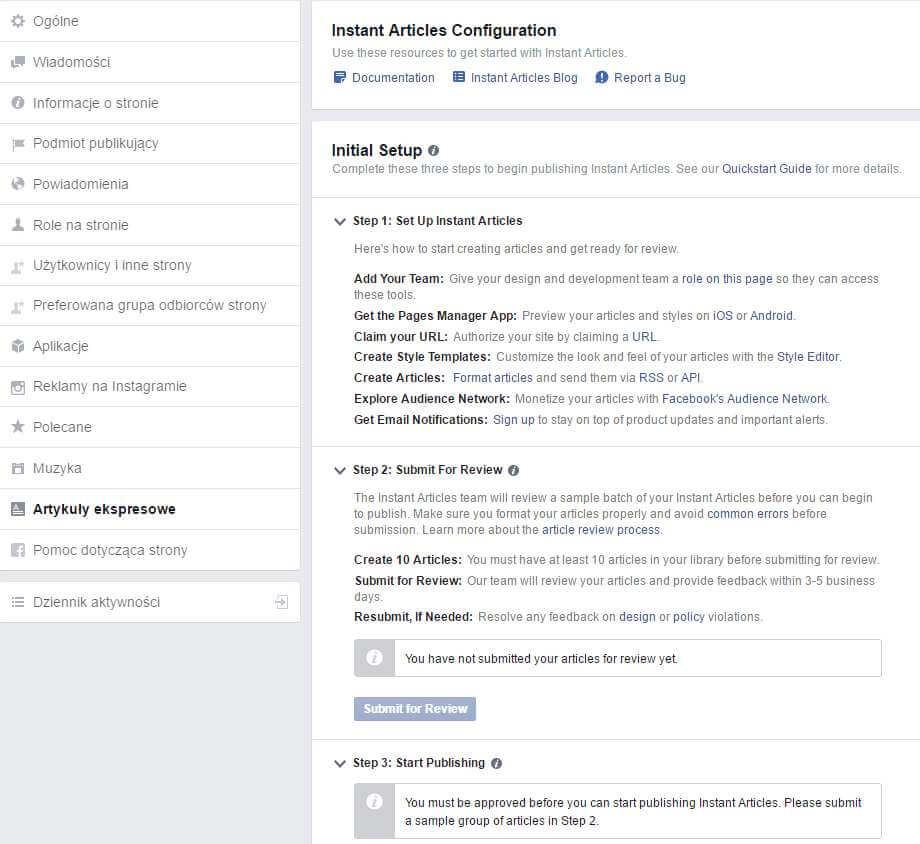 Ekran konfiguracji ekspresowych artykułów