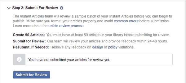 Zatwierdzanie ekspresowego artykułu na Facebooku