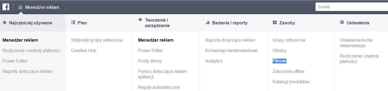 Menadżer reklam - Facebook Pixel
