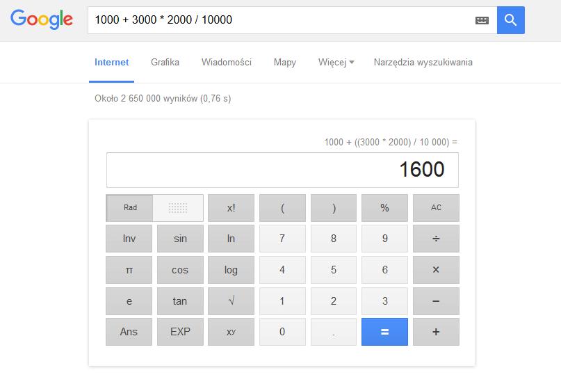 Google kalkulator Koliber