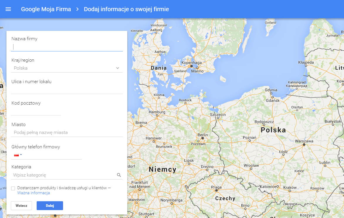 Wpisz w Google Moja Firma kompletny adres firmy