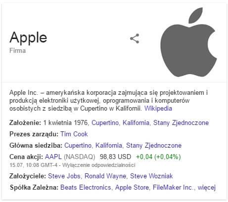 Graf wiedzy dla Apple - znaczniki w danych strukturalnych