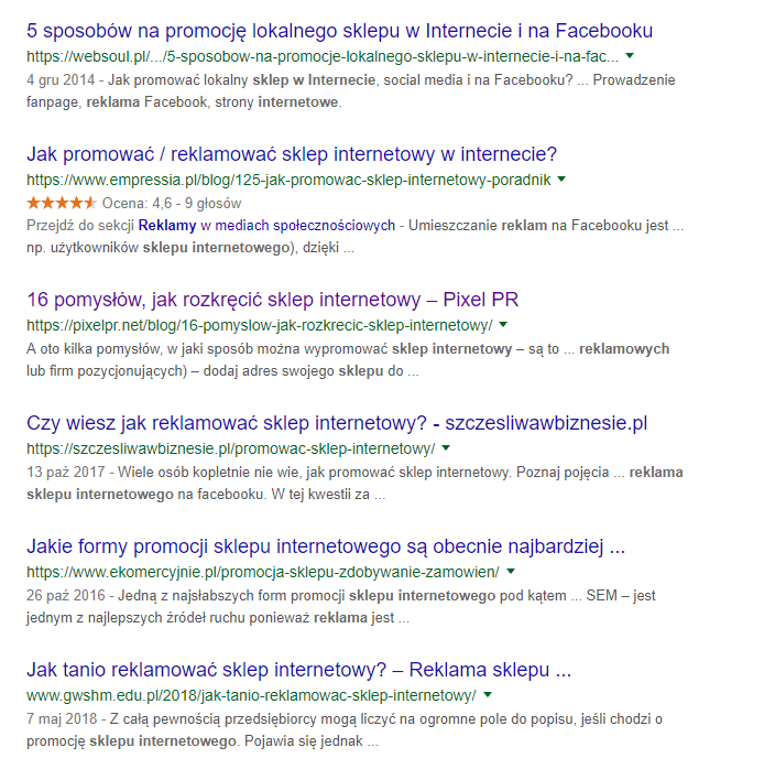 Gwiazdki w wynikach wyszukiwania