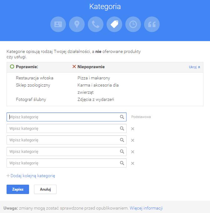 Istotne kategorie w Google Moja Firma