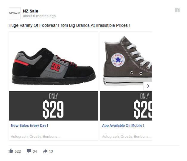 Karuzela produktów na Facebooku