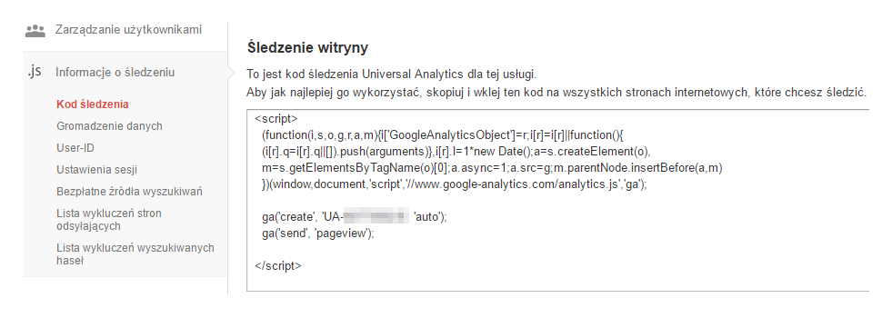 Kod śledzenia w Google Analytics