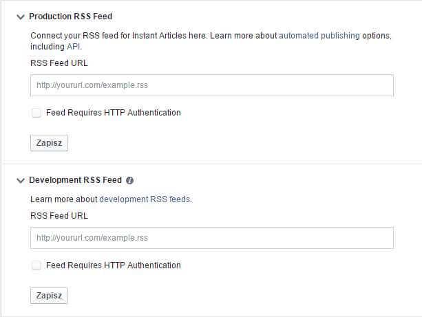 Konfigurowanie kanału RSS w Facebook - ekspresowe artykuły