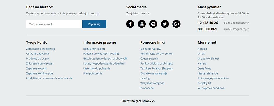 Stopka na stronie internetowej z danymi do kontaktu