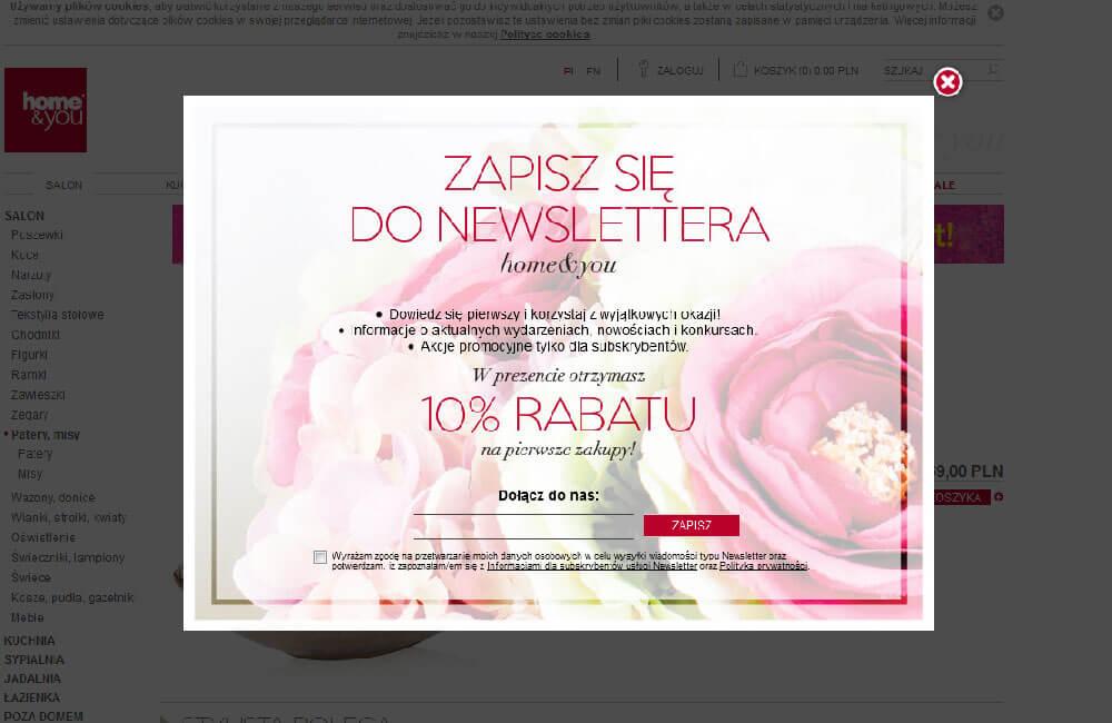 Kontrast tła, by usprawnić newsletterowy pop-up