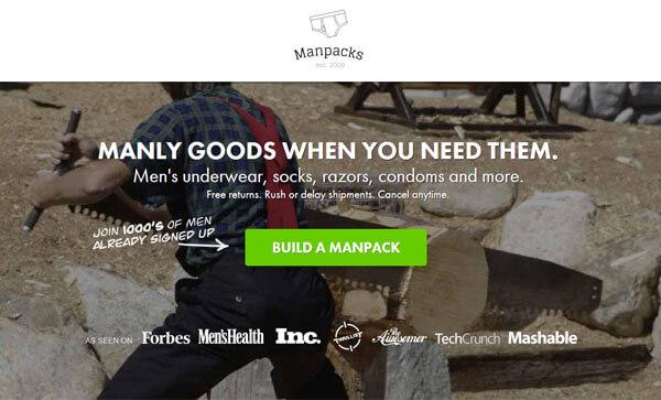 Landing page - Manpacks