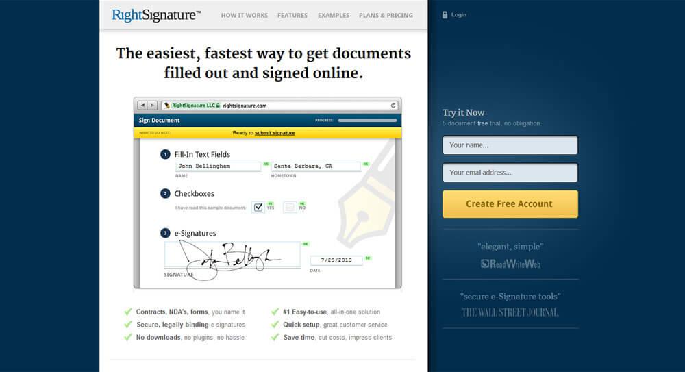 Landing page Rightsignature