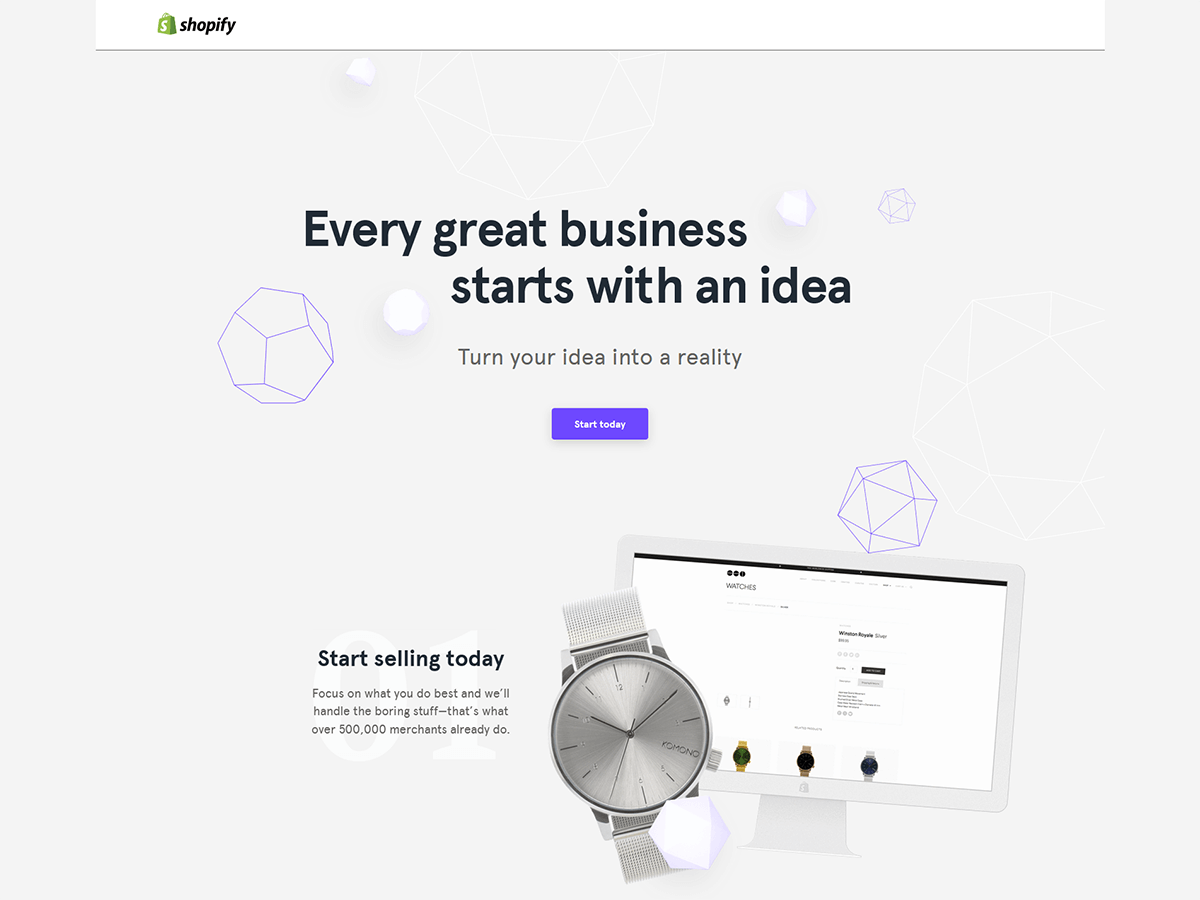 Przykłady landing page - Shopify