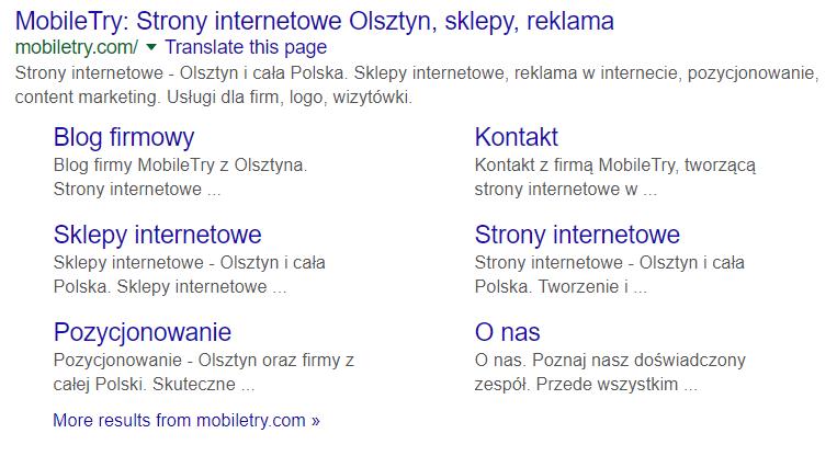Linki witryny w Google