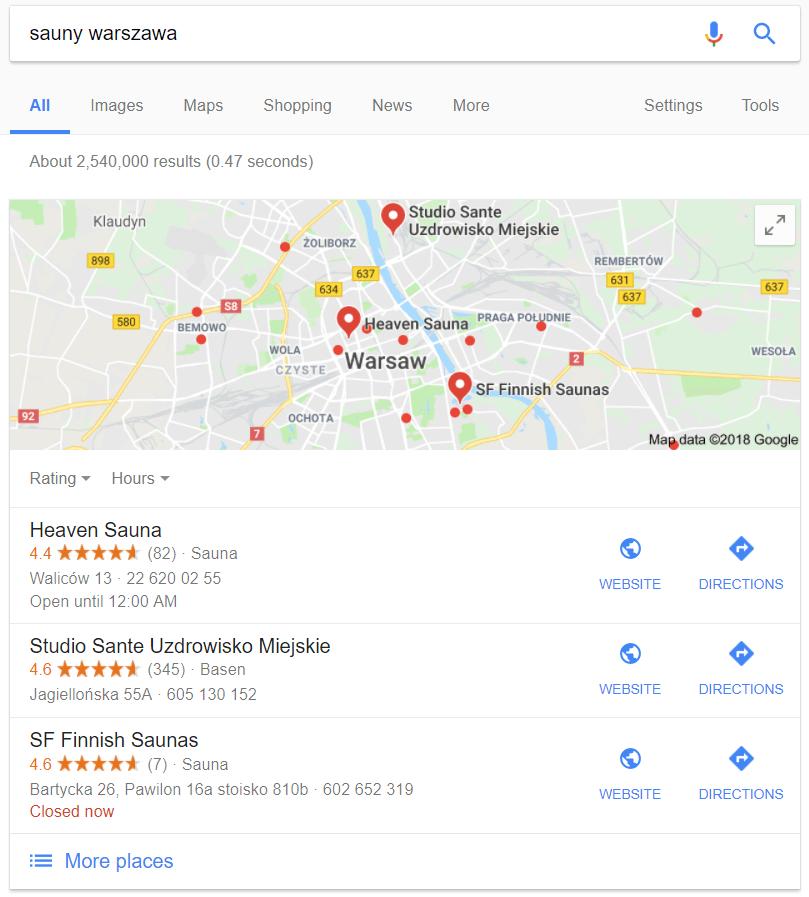 Lokalne wyniki w Google