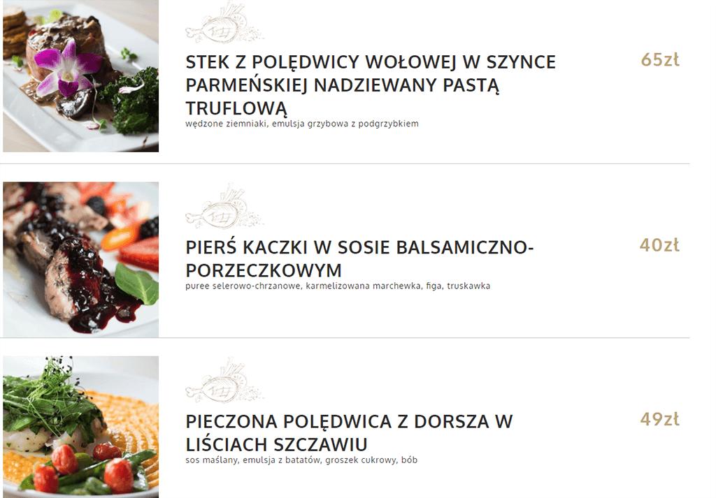 Strona internetowa dla restauracji - menu