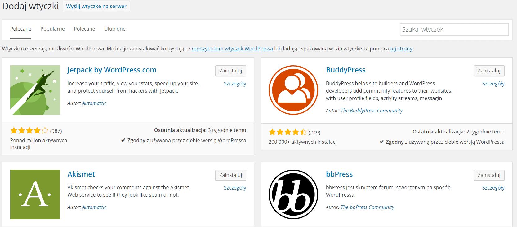 Dodawanie wtyczek w WordPressie