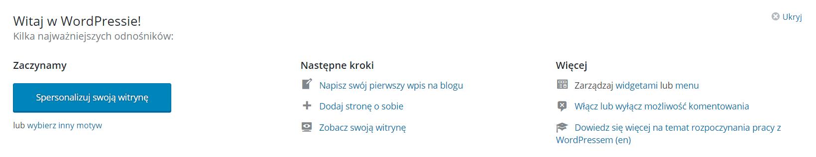Pierwsze kroki w WordPressie - kokpit
