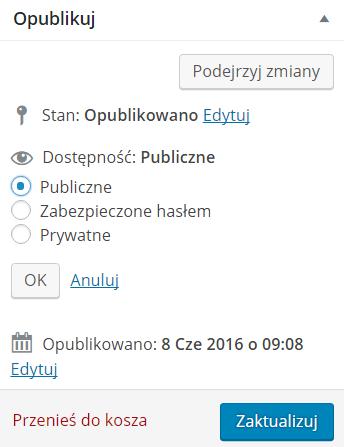 Publikacja wpisu w WordPressie