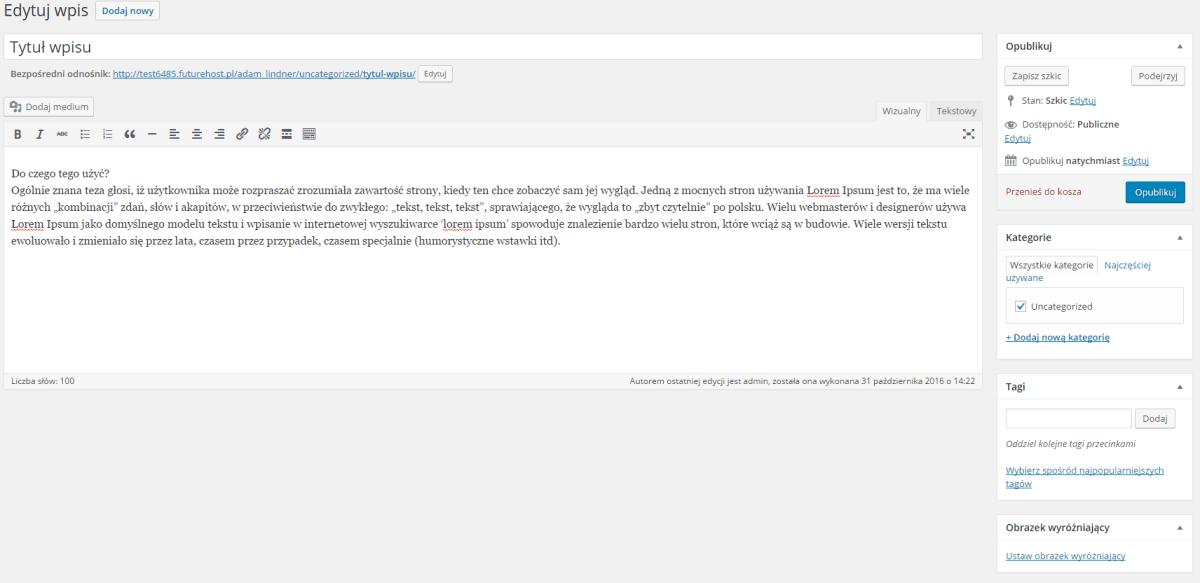 Tworzenie wpisu w WordPressie