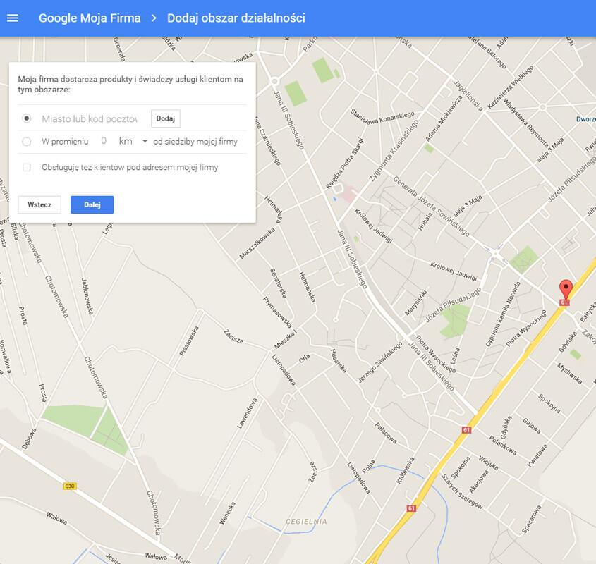 Dodaj obszar działalności w Google Moja Firma