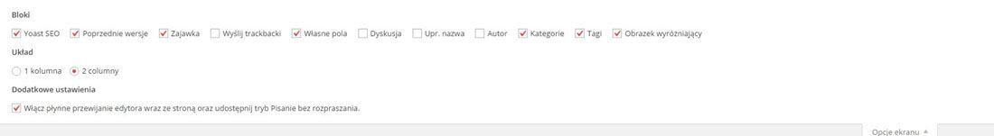 Opcje ekranu WordPress