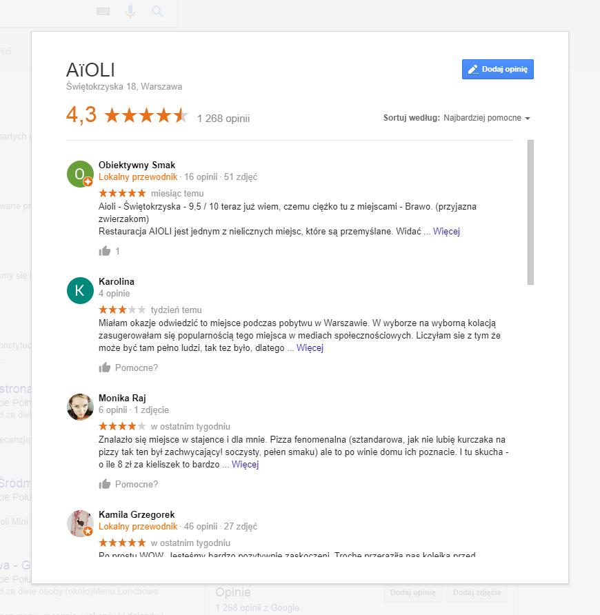 Opinie w Google Moja Firma