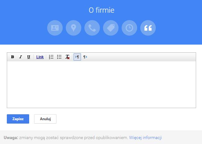 Optymalizacja treści o firmie w Google Moja firma