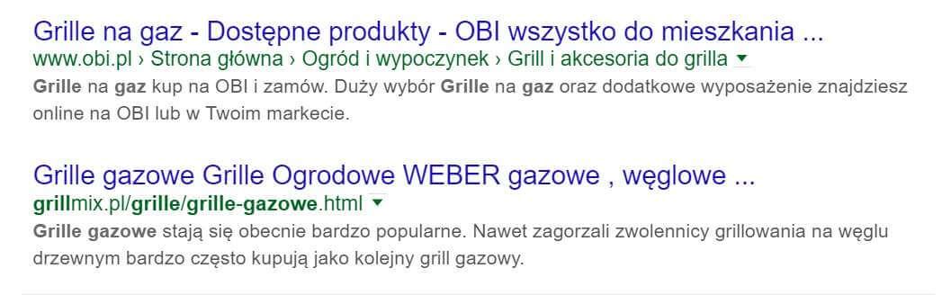 Pogrubione frazy w Google