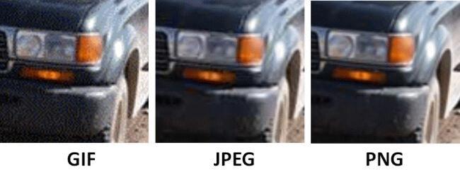 Porównanie jakości GIF JPEG PNG