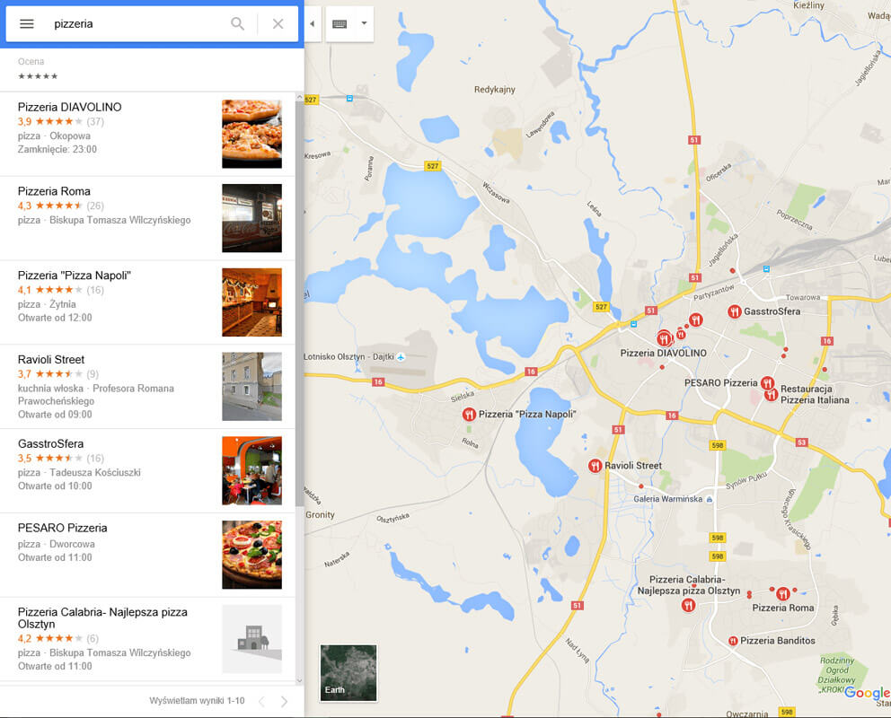 Pozycje w wynikach Google Maps