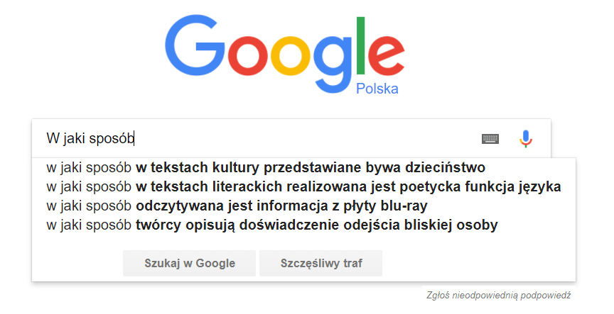 Tematy proponowane przez Google