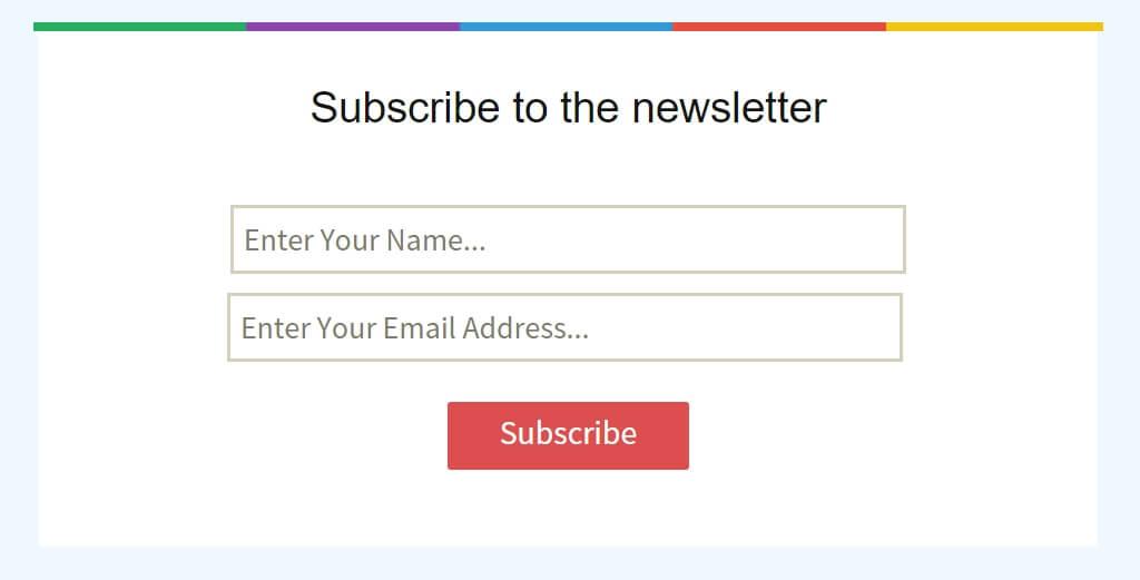 Przykład formularza do subskrypcji