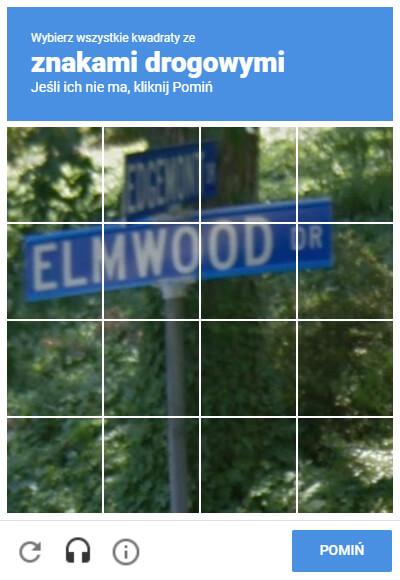 Przykład Google reCAPTCHA