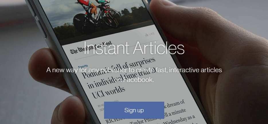 Rejestracja do ekspresowych artykułów na Facebooku