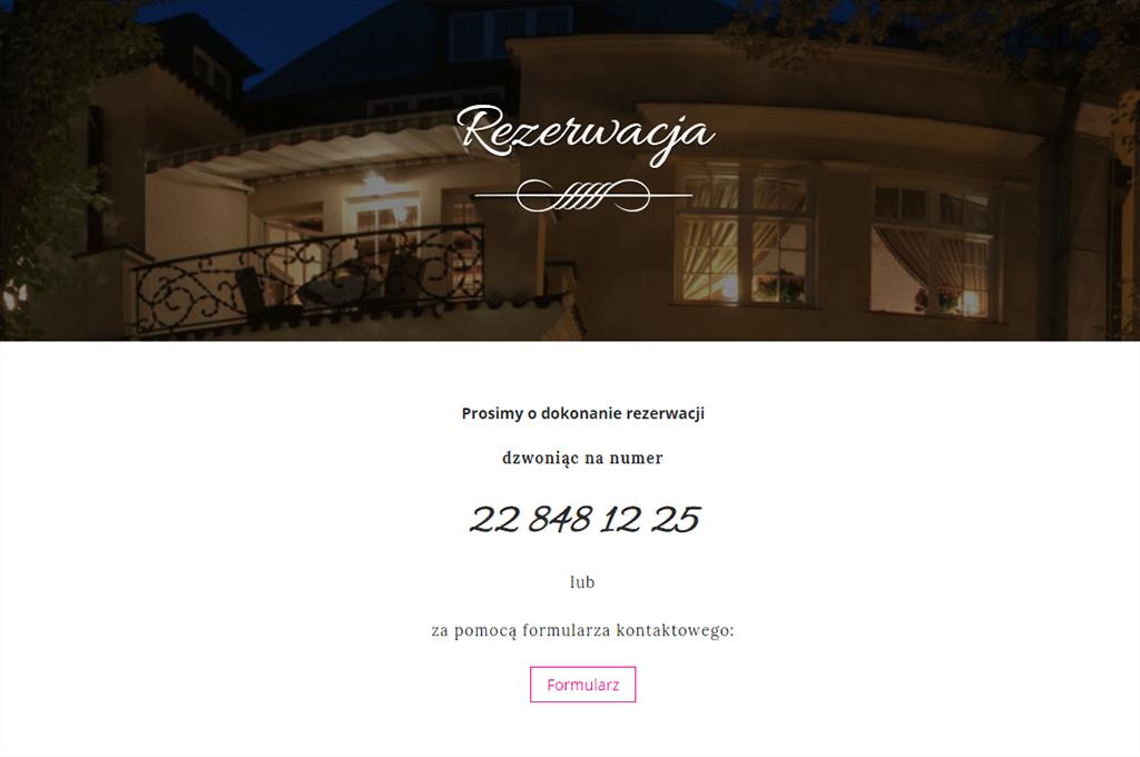 Strona internetowa dla restauracji - rezerwacja online