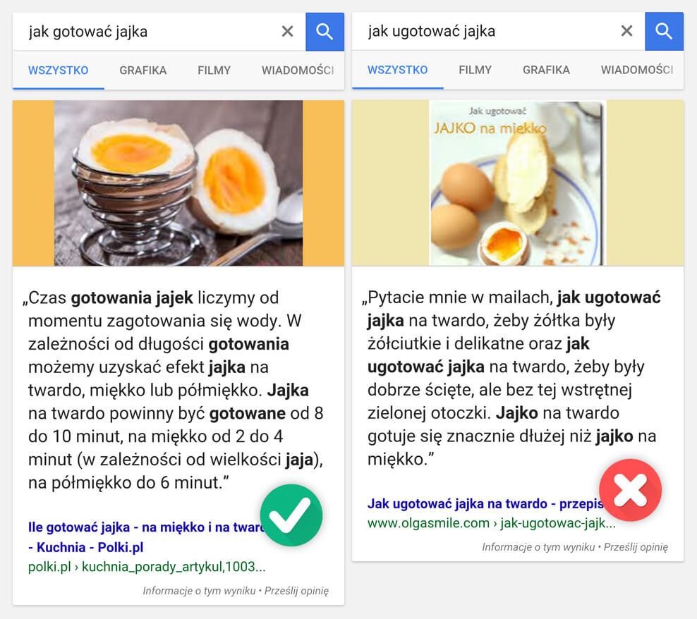 Schematy wyszukiwarki Google - porównanie