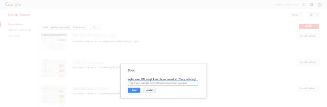 Search Console dodanie strony