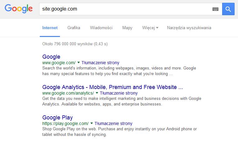 Spis stron google