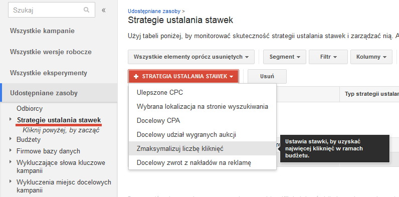 Strategie ustalania stawek AdWords