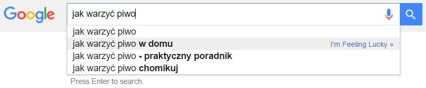Sugerowane słowa kluczowe w wyszukiwarce Google