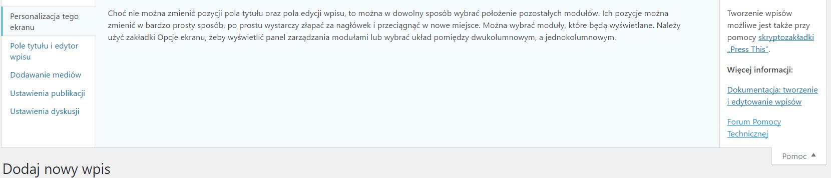 Ukryte funkcje WordPress pomoc