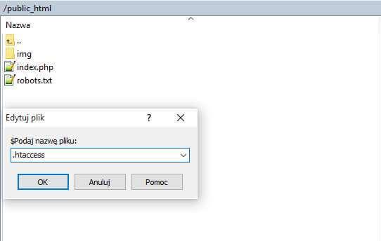 Winscp - tworzenie pliku htaccess