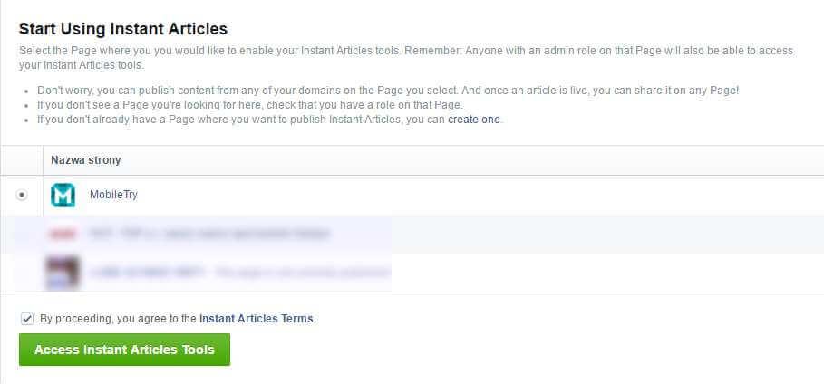 Włącz ekspresowe artykuły dla swojej strony
